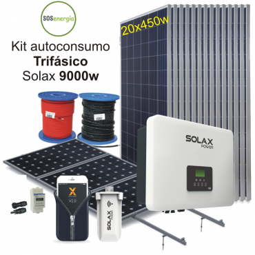 Kit 9000w trifásico Solax -...